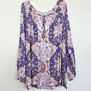 Lucky Brand peasant boho floral top